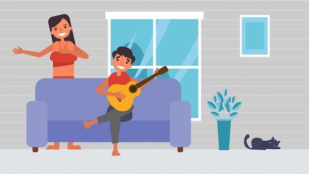 音楽を演奏、カラオケを歌う恋人の趣味活動カップルが一緒に過ごす、愛する人との時間幸福ホームコンセプト、カラフルなイラストのような場所はありません