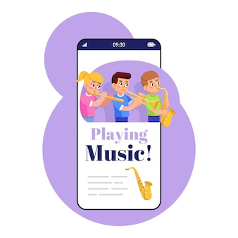 Playing music smartphone app screen. mobile phone display with cartoon characters design mockup. wind instrument training. educational game kids application telephone interface