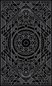 線の幾何学的な形で神秘的なカードを再生します。