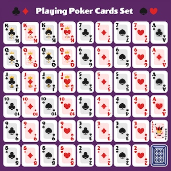 Playing poker cards full set cute minimal design for casino game.