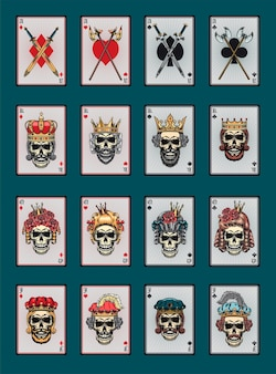 Playing poker cards with skulls set