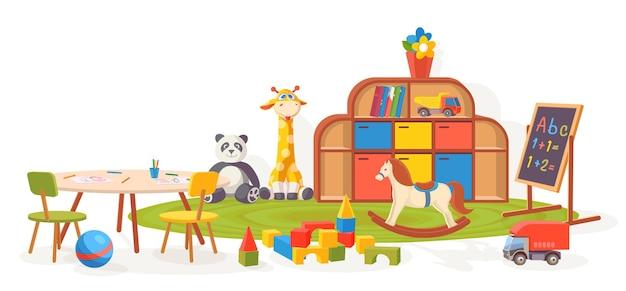놀이방. 장난감, 카펫, 테이블, 칠판이 있는 유치원 교실 가구. 만화 아이 유치원 인테리어 벡터 일러스트 레이 션. 큐브, 말, 기린 장난감이 있는 놀이방