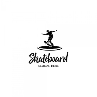 Playing skateboard silhouette logo template