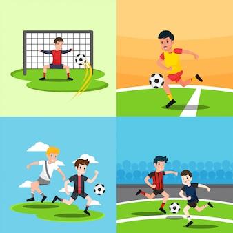 Playing soccer illustration