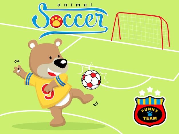 Playing soccer with animal cartoon