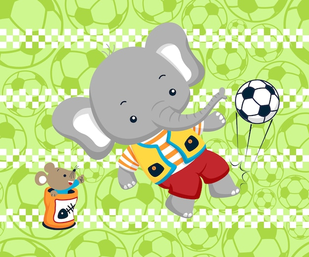 Playing soccer with animals cartoon