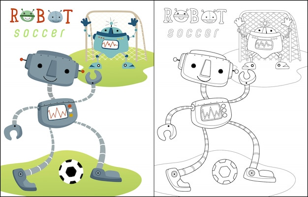 Playing soccer with funny robots cartoon