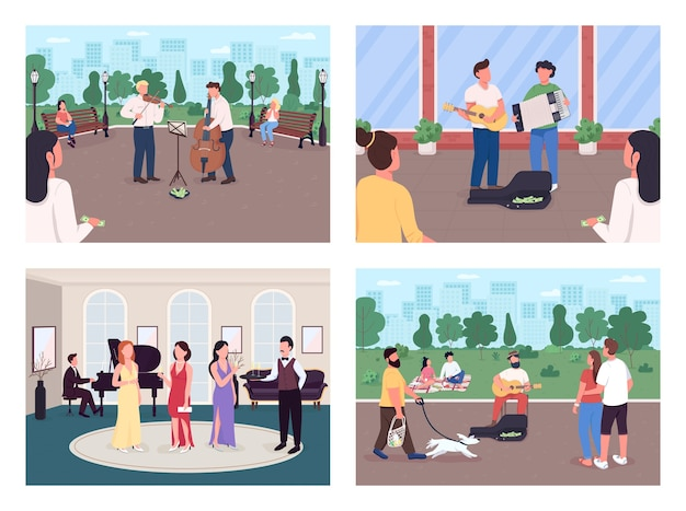 Playing street musicians flat color illustration set. music concert outdoors. earn money with concert. musical instrument players 2d cartoon characters with audience on background collection