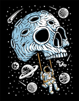 Playing swing on skull planet illustration