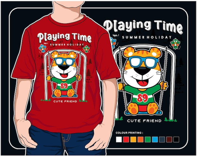 Playing swing time vector animal cartoon illustration design graphic for printing