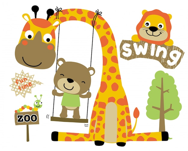 Playing swing with animals cartoon