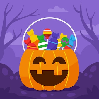 Playing trick or treat door by door and fullfill the pumpkin bucket with candies.