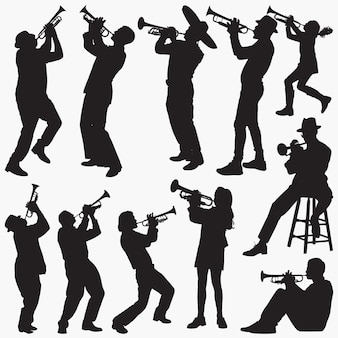 Playing-trumpet silhouettes