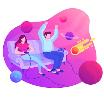 Playing video game illustration