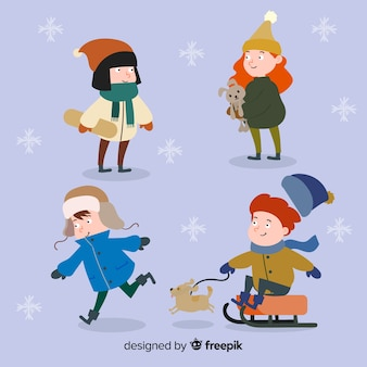 Playing winter kids collection