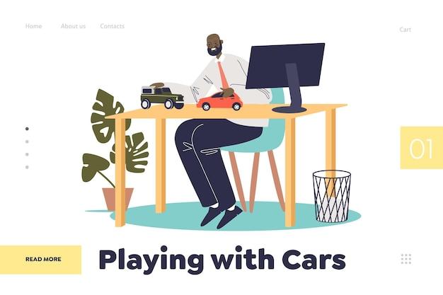 職場でおもちゃの車のモデルをレースする男と一緒に着陸ページの車のコンセプトで遊ぶ。大人のビジネスマンのサラリーマンは車を買うことを夢見ています。漫画フラット