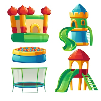 Playroom in kindergarten with slide and trampoline