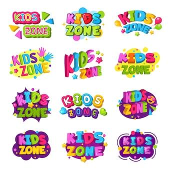 놀이방 로고. 키즈 존 컬러 재미있는 배지 텍스트 그래픽 엠블럼 게임 교육 영역 설정.