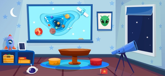 Playroom with telescope and night window. kindergarten with cosmos concept interior. big board with space in paper style art.