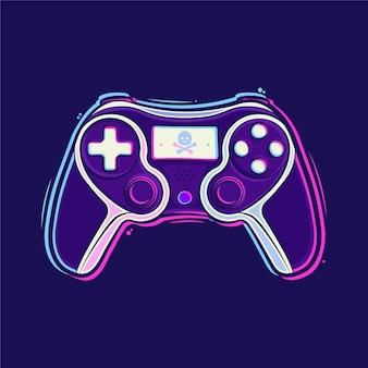 Playstation stick controller cartoon illustration premium vector