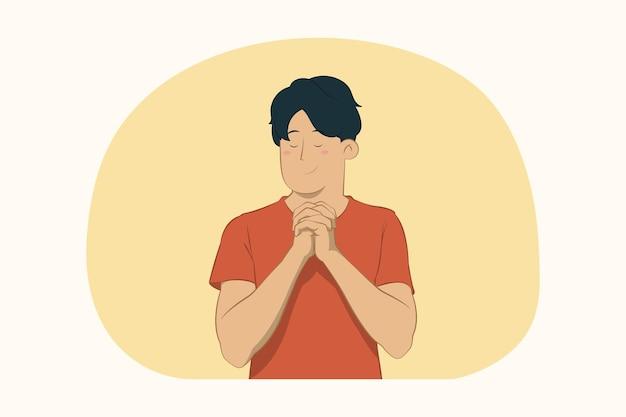 Умоляющий молодой человек, держащий руки, сложенные в молитве концепции