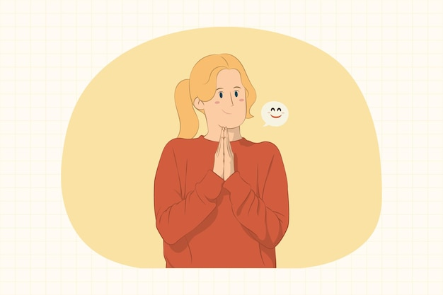 Pleading young woman holding hands folded in prayer concept