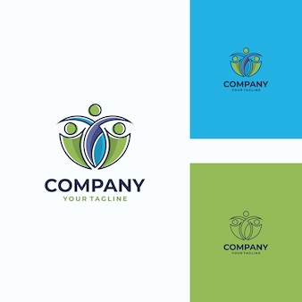 Pleasant human vector logo template