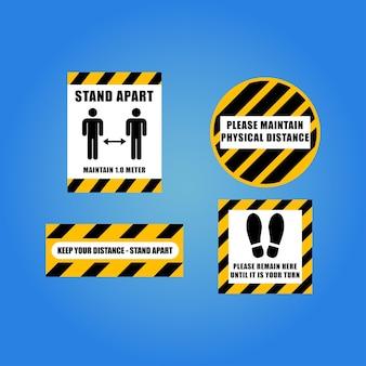 安全で社会的な距離標識の収集を保管してくださいウイルス拡散防止記号ステッカー