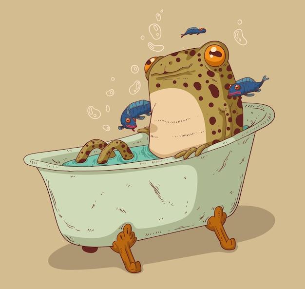 Довольная спокойная лягушка принимает ванну в компании симпатичных крохотных рыбок