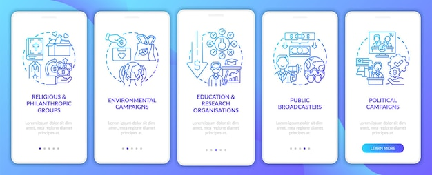 Pledge campaign types onboarding mobile app page screen. public broadcasters walkthrough 5 steps graphic instructions with concepts. ui, ux, gui vector template with linear color illustrations