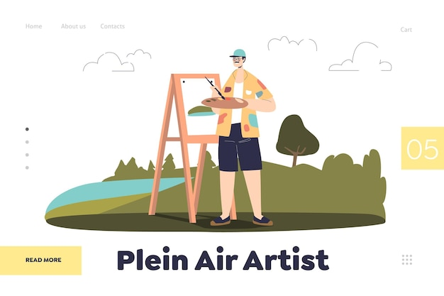 야외에서 야외에서 그리는 남자 화가와 방문 페이지의 플레인 에어 아티스트 개념