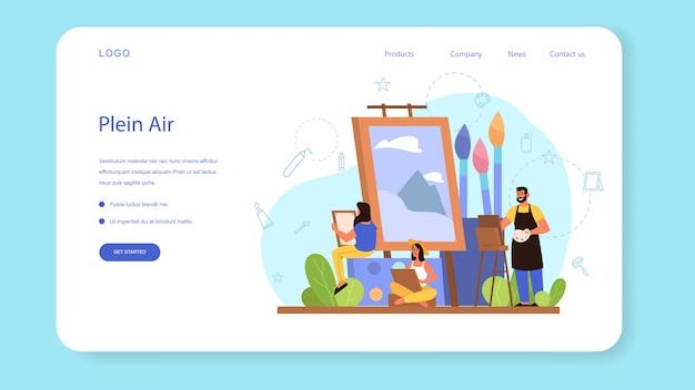 Веб-баннер или целевая страница с иллюстрацией концепции пленэра