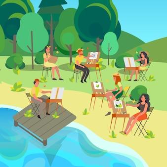 Пленэр. люди рисуют на открытом воздухе. молодой художник на пленэре сидит у мольберта с цветовой палитрой и кистью. счастливый художник рисует снаружи.