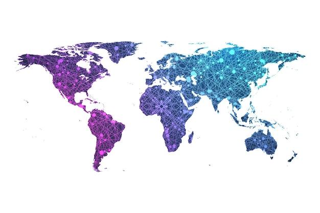 Plexus particle world map vector illustration.