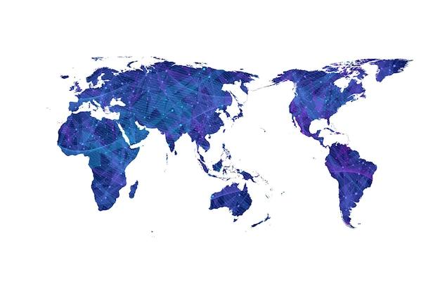 Plexus world map vector flat design network concept.