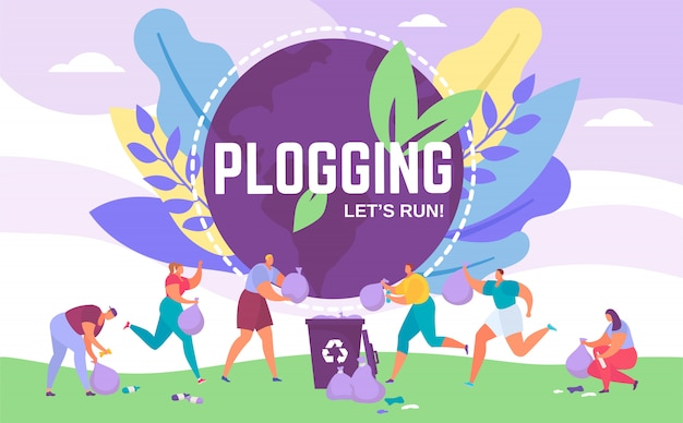 Plogging banner lets run to clear the world,  illustration of people picking up litter during plogging eco marathon.