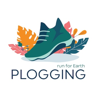 Plogging banner, run for earth concept. modern eco trend, picking up plastic garbage during jog or running. eco friendly and healthy lifestyle. Premium Vector
