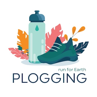 Plogging banner, run for earth concept. modern eco trend,