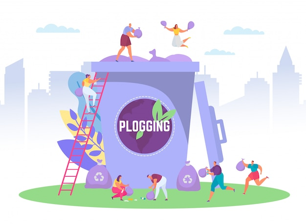 Plogging ecological concept run to clear the world,  illustration of tiny people picking up litter into huge garbage container, plogging eco marathon.