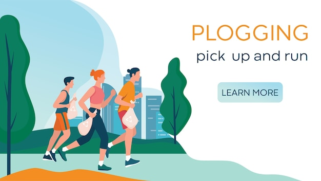 Plogging. people pick up trah during a jog. woman and man collect garbage while running. eco friendly and healthy life.   , web banner or landing page idea