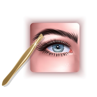 Plucking brows hair metal tweezers for eyebrows 3d illustration in realistic style