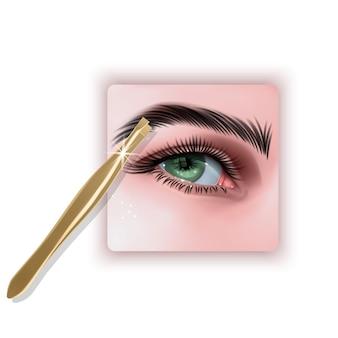 Plucking brows hair metal tweezers for eyebrows 3d illustration