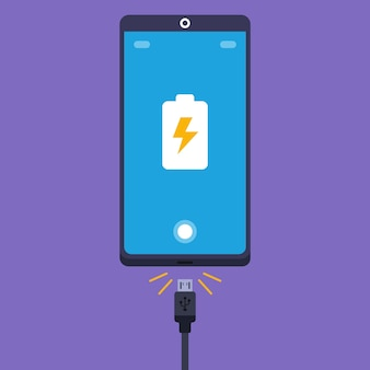 Plug the cord from the charger into the cell phone illustration.