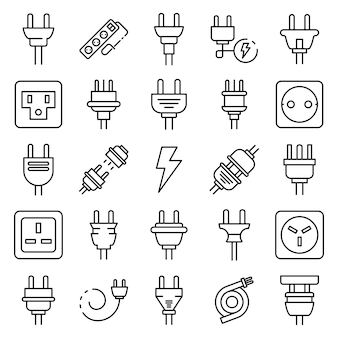 Plug wire icons set, outline style