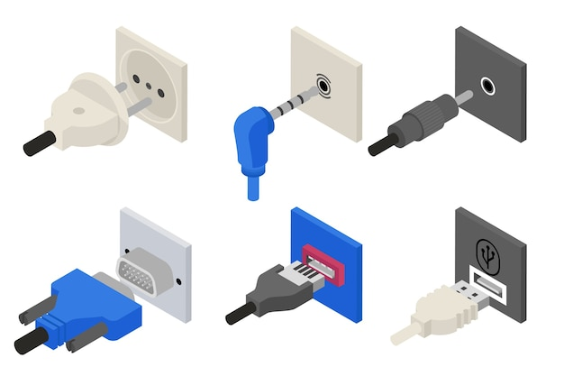 Plugs icons, isometric 3d vector.