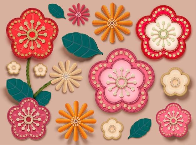 Коллекция цветов сливы в стиле вышивки для дизайна