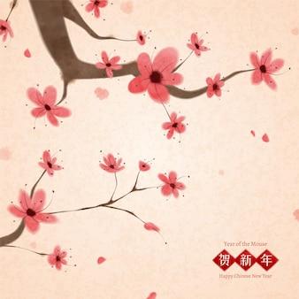 中国の筆塗りスタイルの梅の花の木
