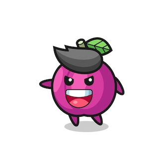 Plum fruit cartoon with very excited pose , cute style design for t shirt, sticker, logo element
