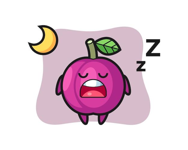 夜眠っているプラムフルーツのキャラクターイラスト、tシャツ、ステッカー、ロゴ要素のかわいいスタイルのデザイン