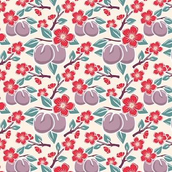 Plum fruit and red flowers seamless pattern